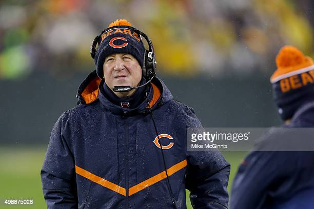 Head coach John Fox of the Chicago Bears walks on the sidelines in the first quarter against the Green Bay Packers at Lambeau Field on November 26...