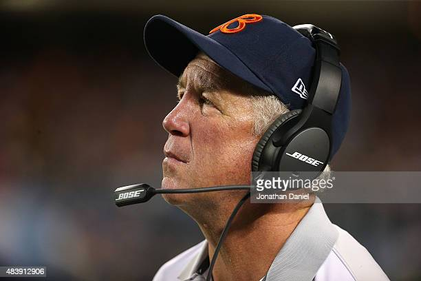 Head coach John Fox of the Chicago Bears watches as his team takes on the Miami Dolphins during a preseason game at Soldier Field on August 13 2015...