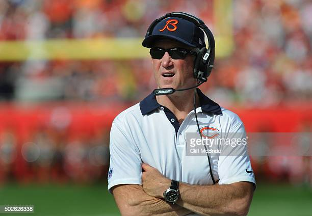 Head coach John Fox of the Chicago Bears watches from the sidelines against the Tampa Bay Buccaneers in the first quarter at Raymond James Stadium on...