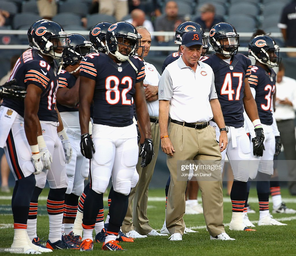 Head coach John Fox of the Chicago Bears watches his team during warm-ups before a preseason game against the Miami Dolphins at Soldier Field on August 13, 2015 in Chicago, Illinois.