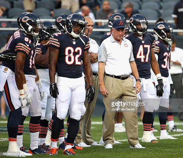 Head coach John Fox of the Chicago Bears watches his team during warmups before a preseason game against the Miami Dolphins at Soldier Field on...