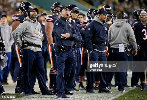 Head coach John Fox of the Chicago Bears watches the scoreboard in the third quarter against the Green Bay Packers at Lambeau Field on October 20...