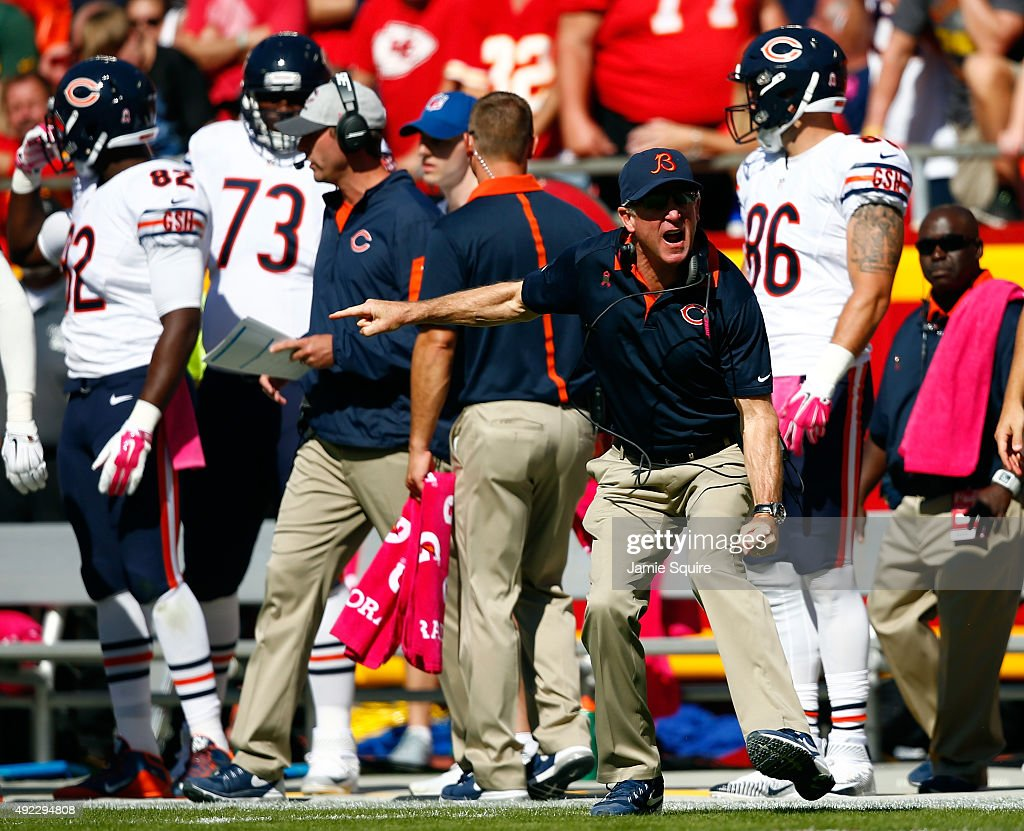 Head coach John Fox of the Chicago Bears yells from the sidelines during the game against the Kansas City Chiefs at Arrowhead Stadium on October 11, 2015 in Kansas City, Missouri.