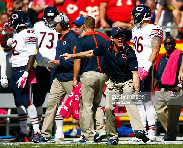 Head coach John Fox of the Chicago Bears yells from the sidelines during the game against the Kansas City Chiefs at Arrowhead Stadium on October 11...