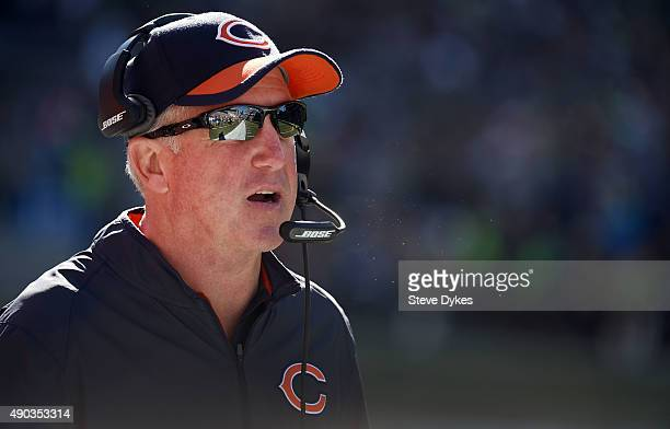 Head coach John Fox of the Chicago Bearslooks out on from the bench during the third quarter of the game against the Seattle Seahawks at CenturyLink...