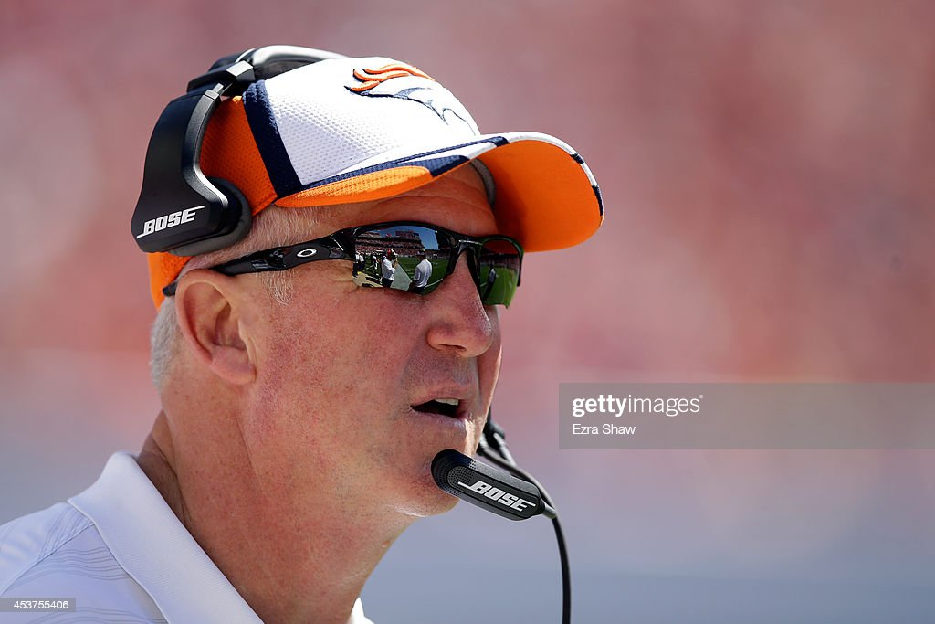 Head coach <a gi-track='captionPersonalityLinkClicked' href=/galleries/search?phrase=John+Fox+-+Coach&family=editorial&specificpeople=206657 ng-click='$event.stopPropagation()'>John Fox</a> of the Denver Broncos looks on during a preseason game against the San Francisco 49ers at Levi's Stadium on August 17, 2014 in Santa Clara, California.