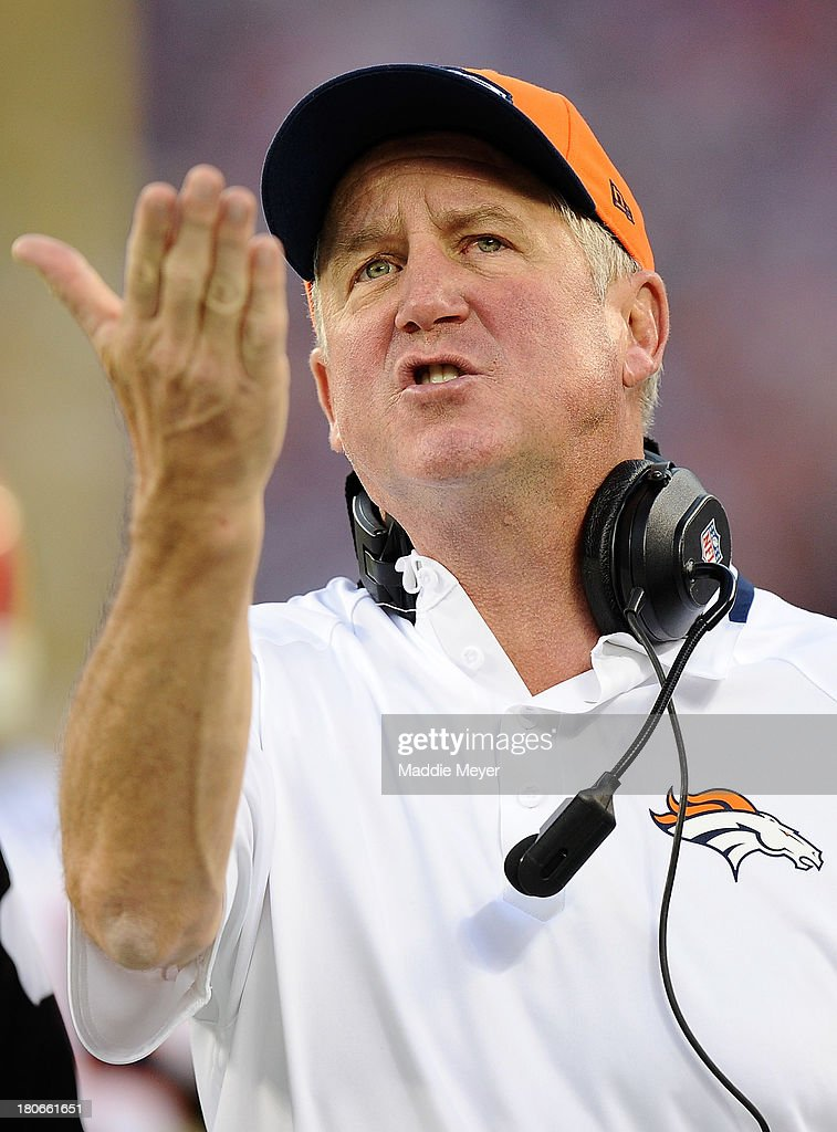Head coach <a gi-track='captionPersonalityLinkClicked' href=/galleries/search?phrase=John+Fox+-+Coach&family=editorial&specificpeople=206657 ng-click='$event.stopPropagation()'>John Fox</a> of the Denver Broncos reacts during the second half against the New York Giants at MetLife Stadium on September 15, 2013 in East Rutherford, New Jersey.