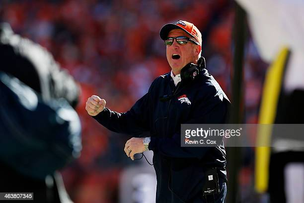 Head coach John Fox of the Denver Broncos reacts in the first quarter against the New England Patriots during the AFC Championship game at Sports...