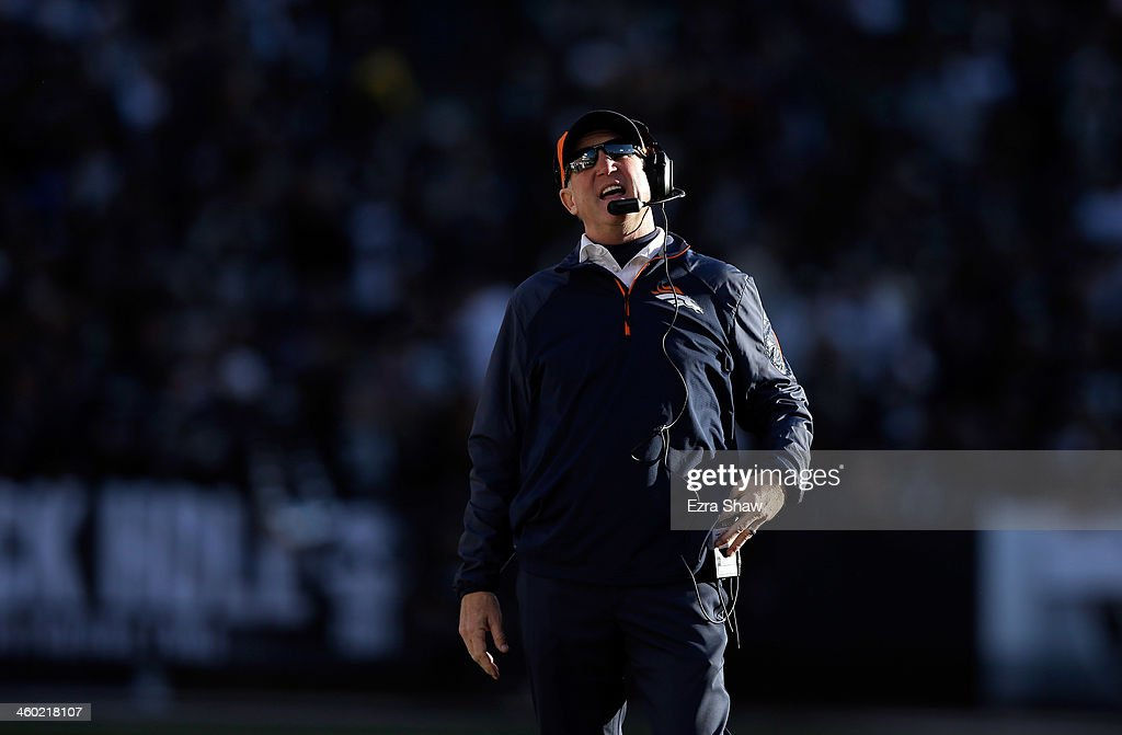 Head coach <a gi-track='captionPersonalityLinkClicked' href=/galleries/search?phrase=John+Fox+-+Coach&family=editorial&specificpeople=206657 ng-click='$event.stopPropagation()'>John Fox</a> of the Denver Broncos stands on the sidelines during their game against the Oakland Raiders at O.co Coliseum on December 29, 2013 in Oakland, California.