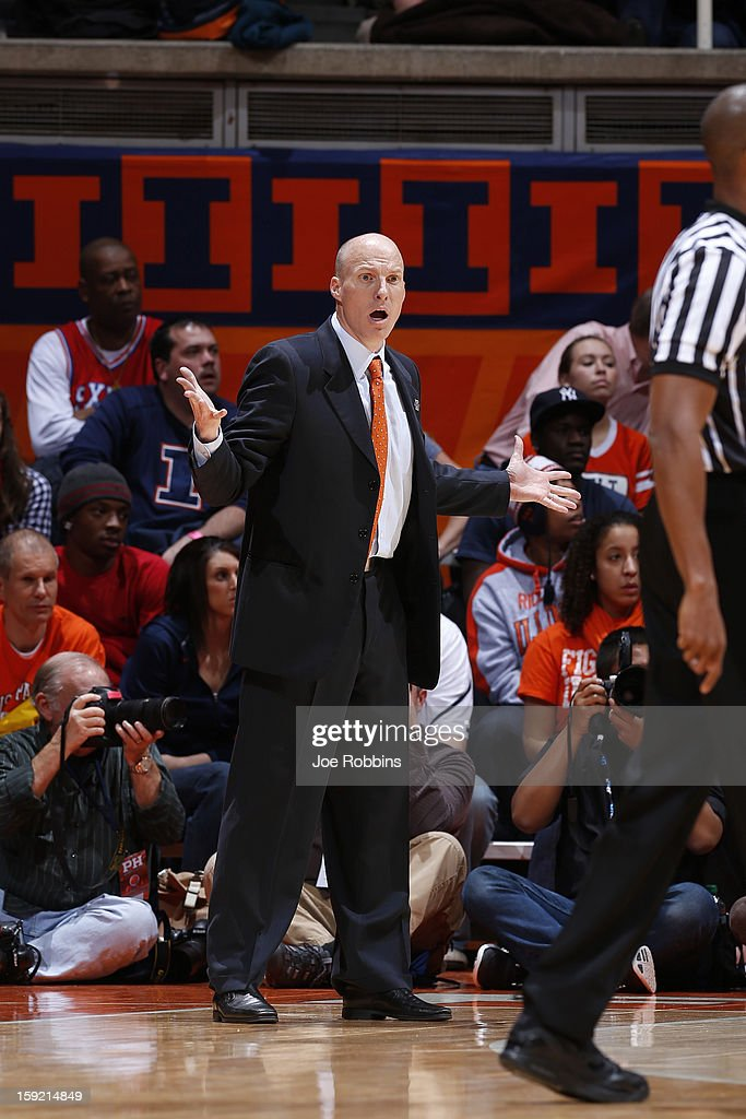 Head coach John Groce of the Illinois Fighting Illini argues a call against the Minnesota Golden Gophers during the game at Assembly Hall on January 9, 2013 in Champaign, Illinois.