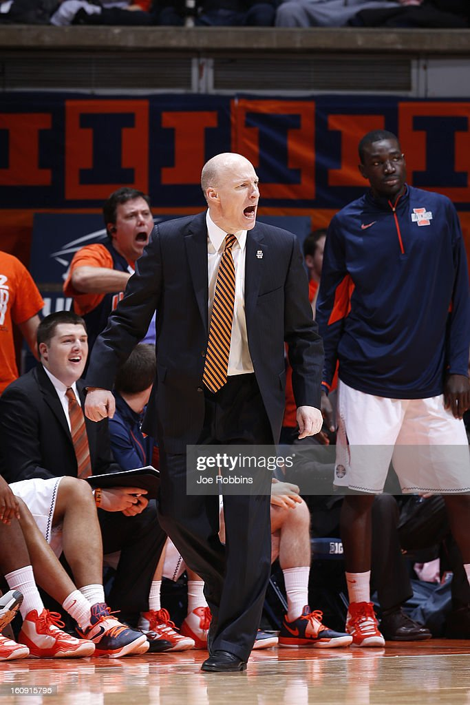 Head coach John Groce of the Illinois Fighting Illini looks on against the Indiana Hoosiers during the game at Assembly Hall on February 7, 2013 in Champaign, Illinois. Illinois defeated No. 1 ranked Indiana 74-72.