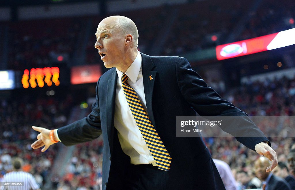 Head coach John Groce of the Illinois Fighting Illini reacts to an official's call during a game against the UNLV Rebels at the Thomas & Mack Center on November 26, 2013 in Las Vegas, Nevada. Illinois won 61-59.