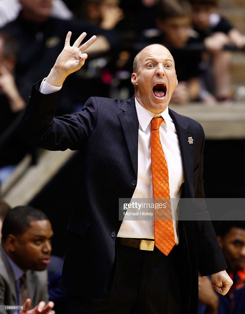 Head coach John Groce of the Illinois Fighting Illini shouts to his team during action against the Purdue Boilermakers at Mackey Arena on January 2, 2013 in West Lafayette, Indiana. Purdue defeated Illinois 68-61.