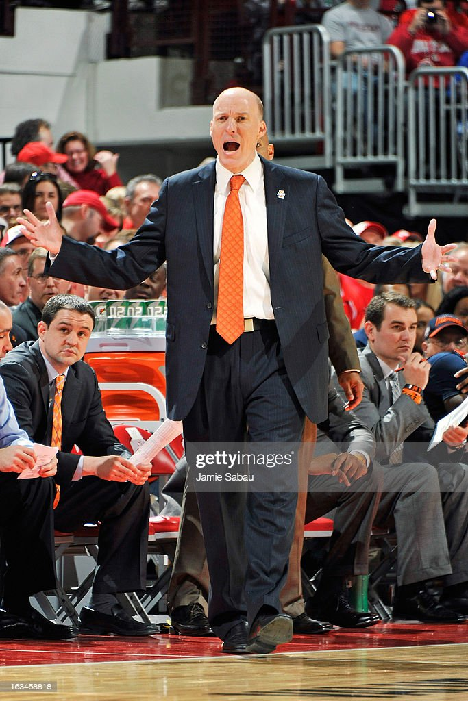 Head Coach John Groce of the Illinois Fighting Illini shouts instructions to his team in the second half against the Ohio State Buckeyes on March 10, 2013 at Value City Arena in Columbus, Ohio. Ohio State defeated Illinois 68-55.