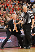Head Coach John Groce of the Illinois Fighting Illini tries to question the referee after the Fighting Illini were called for a travel in the second...