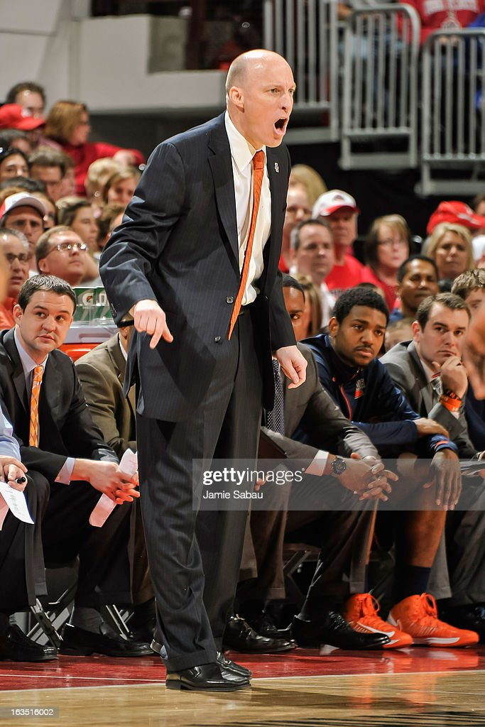 Head Coach John Groce of the Illinois Fighting Illini watches his team play the Ohio State Buckeyes on March 10, 2013 at Value City Arena in Columbus, Ohio.