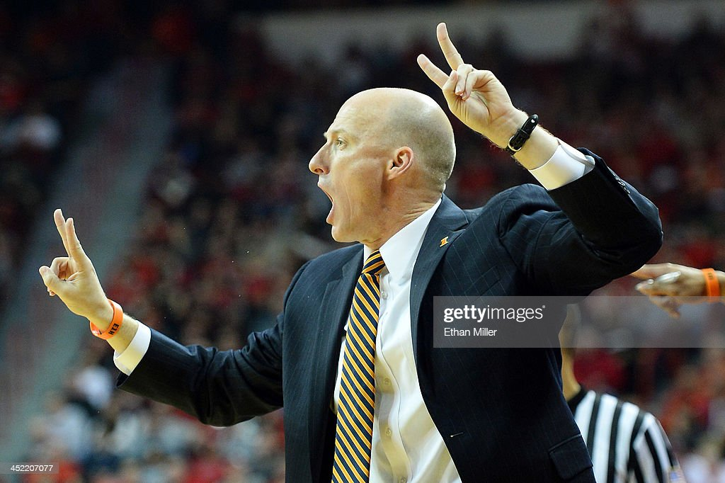 Head coach John Groce of the Illinois Fighting Illini yells to his players during their game against the UNLV Rebels at the Thomas & Mack Center on November 26, 2013 in Las Vegas, Nevada. Illinois won 61-59.