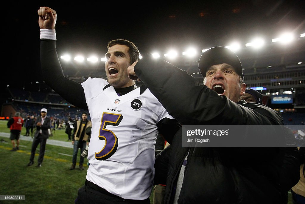 Head coach John Harbaugh and Joe Flacco #5 of the Baltimore Ravens celebrates after defeating the New England Patriots in the 2013 AFC Championship game at Gillette Stadium on January 20, 2013 in Foxboro, Massachusetts. The Baltimore Ravens defeated the New England Patriots 28-13.