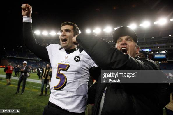 Head coach John Harbaugh and Joe Flacco of the Baltimore Ravens celebrates after defeating the New England Patriots in the 2013 AFC Championship game...