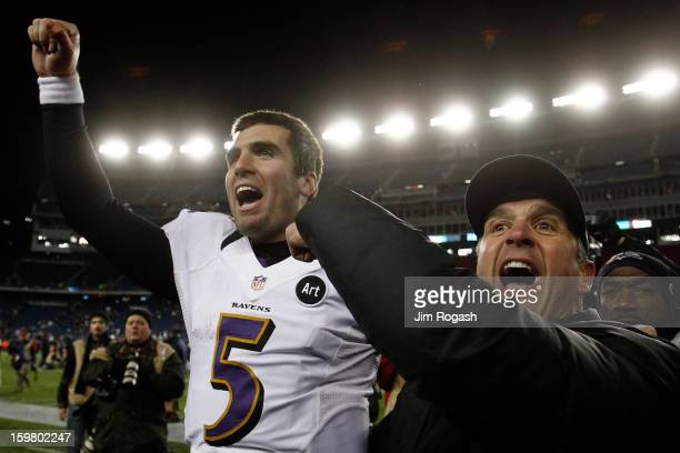 Head coach John Harbaugh and Joe Flacco of the Baltimore Ravens celebrate after defeating the New England Patriots in the 2013 AFC Championship game...