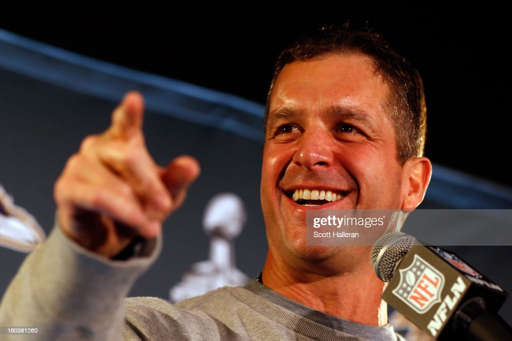 Head coach <a gi-track='captionPersonalityLinkClicked' href=/galleries/search?phrase=John+Harbaugh&family=editorial&specificpeople=763525 ng-click='$event.stopPropagation()'>John Harbaugh</a> of the Baltimore Ravens addresses the media during Super Bowl XLVII Media Availability at the Hilton New Orleans Riverside on January 30, 2013 in New Orleans, Louisiana. The Ravens will take on the San Francisco 49ers on February 3, 2013 at the Mercedes-Benz Superdome.