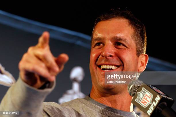 Head coach John Harbaugh of the Baltimore Ravens addresses the media during Super Bowl XLVII Media Availability at the Hilton New Orleans Riverside...