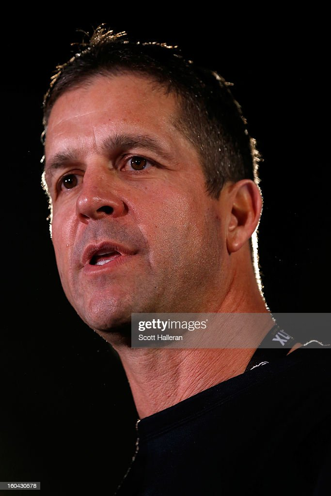 Head coach <a gi-track='captionPersonalityLinkClicked' href=/galleries/search?phrase=John+Harbaugh&family=editorial&specificpeople=763525 ng-click='$event.stopPropagation()'>John Harbaugh</a> of the Baltimore Ravens addresses the media during Super Bowl XLVII Media Availability at the Hilton New Orleans Riverside on January 31, 2013 in New Orleans, Louisiana. The Ravens will take on the San Francisco 49ers on February 3, 2013 at the Mercedes-Benz Superdome.