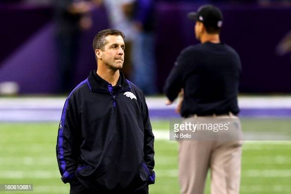 Head coach John Harbaugh of the Baltimore Ravens and head coach Jim Harbaugh of the San Francisco 49ers look on during warm ups prior to Super Bowl...