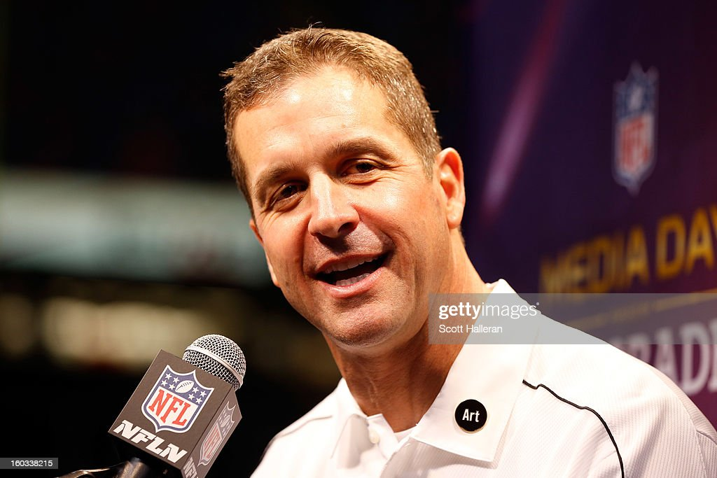 Head coach John Harbaugh of the Baltimore Ravens answers questions from the media during Super Bowl XLVII Media Day ahead of Super Bowl XLVII at the Mercedes-Benz Superdome on January 29, 2013 in New Orleans, Louisiana. The San Francisco 49ers will take on the Baltimore Ravens on February 3, 2013 at the Mercedes-Benz Superdome.
