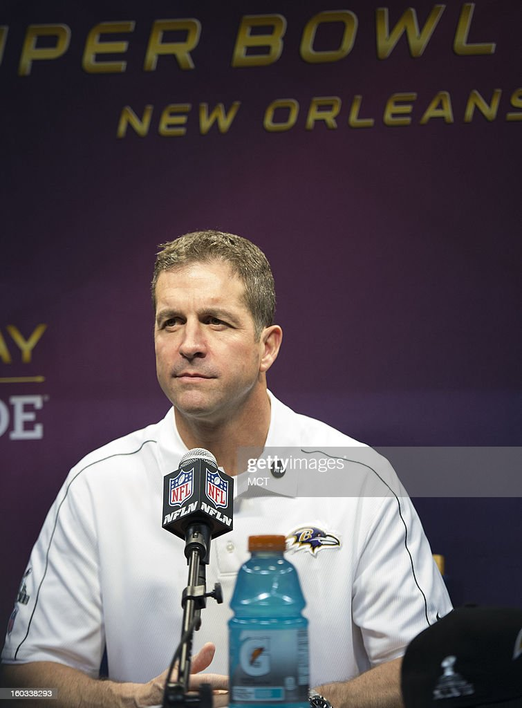 Head coach John Harbaugh of the Baltimore Ravens answers questions during Super Bowl Media Day on Tuesday, January 29, 2013, in New Orleans, Louisiana.