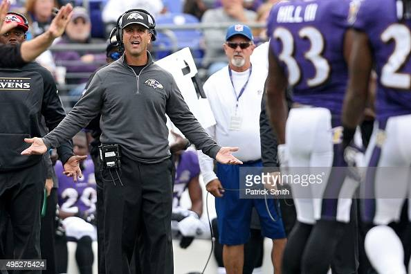 Head coach John Harbaugh of the Baltimore Ravens argues a call in the second quarter against the San Diego Chargers at MT Bank Stadium on November 1...