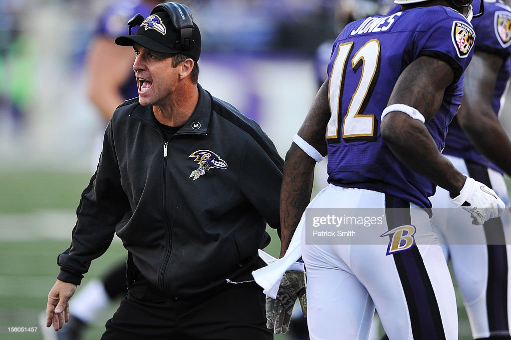 Head coach <a gi-track='captionPersonalityLinkClicked' href=/galleries/search?phrase=John+Harbaugh&family=editorial&specificpeople=763525 ng-click='$event.stopPropagation()'>John Harbaugh</a> of the Baltimore Ravens celebrates with his players after a touchdown in the third quarter against the Oakland Raiders at M&T Bank Stadium on November 11, 2012 in Baltimore, Maryland. The Baltimore Ravens won, 55-20.