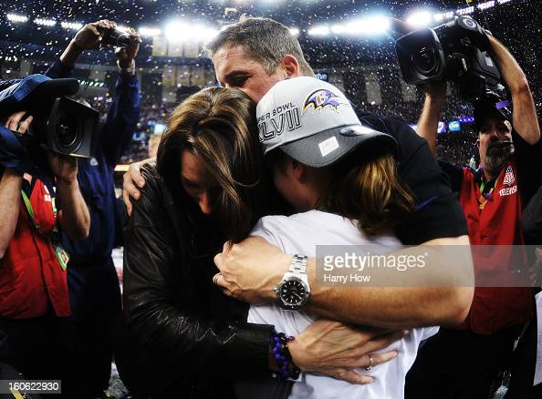 Head coach John Harbaugh of the Baltimore Ravens celebrates with his wife Ingrid and his daughter Alison after the Ravens won 3431 during Super Bowl...
