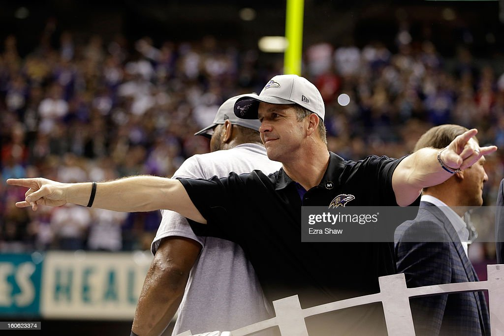 Head coach <a gi-track='captionPersonalityLinkClicked' href=/galleries/search?phrase=John+Harbaugh&family=editorial&specificpeople=763525 ng-click='$event.stopPropagation()'>John Harbaugh</a> of the Baltimore Ravens gestures after defeating the San Francisco 49ers during Super Bowl XLVII at the Mercedes-Benz Superdome on February 3, 2013 in New Orleans, Louisiana. The Ravens defeated the 49ers 34-31.