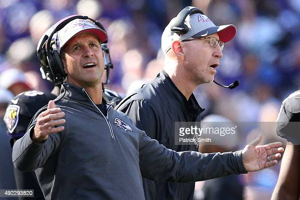 Head coach John Harbaugh of the Baltimore Ravens looks on during the fourth quarter of a game against the Cleveland Browns at MT Bank Stadium on...