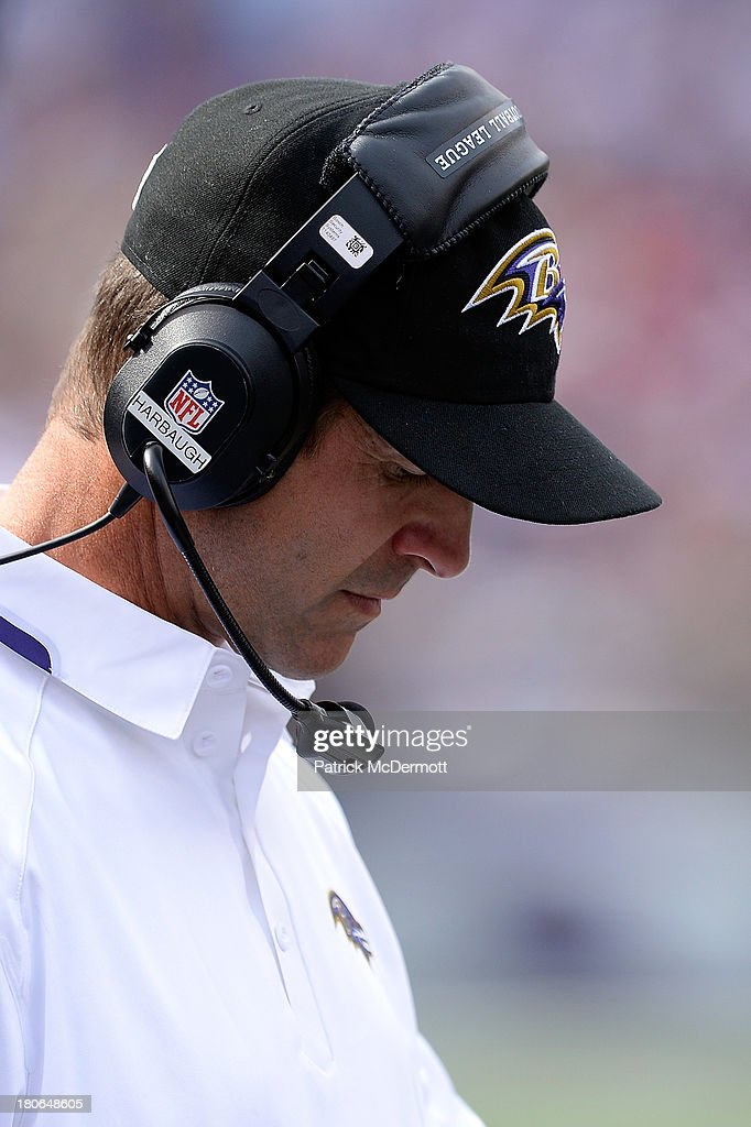 Head coach <a gi-track='captionPersonalityLinkClicked' href=/galleries/search?phrase=John+Harbaugh&family=editorial&specificpeople=763525 ng-click='$event.stopPropagation()'>John Harbaugh</a> of the Baltimore Ravens looks on from the sidleines during a game against the Cleveland Browns at M&T Bank Stadium on September 15, 2013 in Baltimore, Maryland.