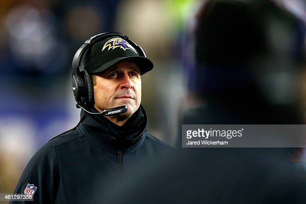 Head coach John Harbaugh of the Baltimore Ravens looks on from the sideline in the second half against the New England Patriots during the 2015 AFC...