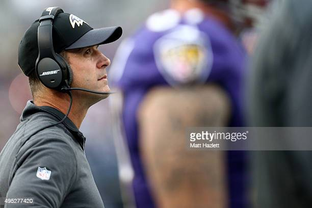 Head coach John Harbaugh of the Baltimore Ravens looks on in the fourth quarter of a game against the San Diego Chargers at MT Bank Stadium on...