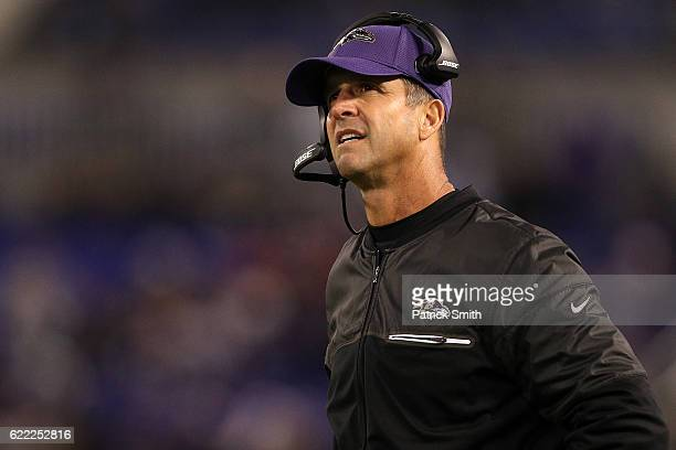 Head coach John Harbaugh of the Baltimore Ravens looks on in the fourth quarter against the Cleveland Browns at MT Bank Stadium on November 10 2016...