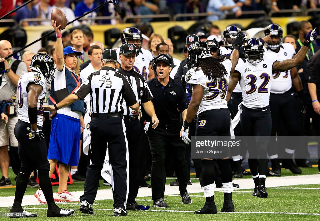 Head coach John Harbaugh of the Baltimore Ravens reacts after his team recovered a fumble in the second quarter against the San Francisco 49ers during Super Bowl XLVII at the Mercedes-Benz Superdome on February 3, 2013 in New Orleans, Louisiana.