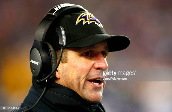 Head coach John Harbaugh of the Baltimore Ravens reacts during the second half of the 2015 AFC Divisional Playoffs game against the New England...