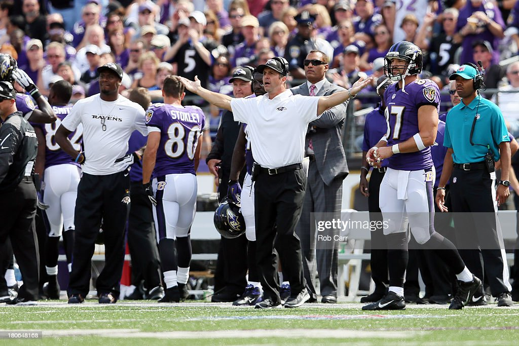 Head coach John Harbaugh of the Baltimore Ravens reacts to a call during the second half of their 14-6 win over the Cleveland Browns at M&T Bank Stadium on September 15, 2013 in Baltimore, Maryland.