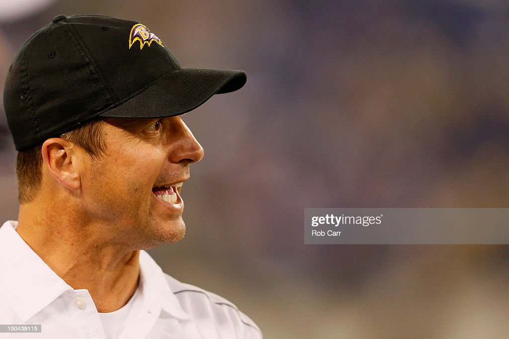 Head coach John Harbaugh of the Baltimore Ravens reacts to an officials call against the Detroit Lions during the second half at M&T Bank Stadium on August 17, 2012 in Baltimore, Maryland.