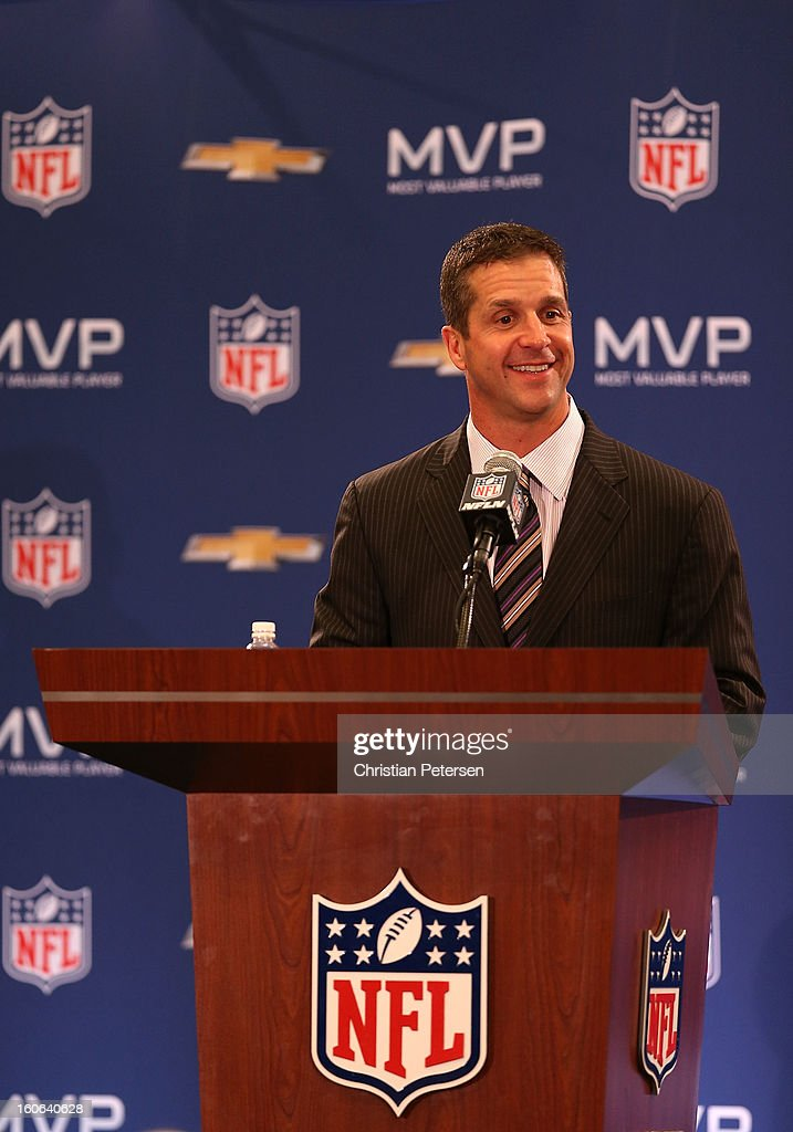 Head coach <a gi-track='captionPersonalityLinkClicked' href=/galleries/search?phrase=John+Harbaugh&family=editorial&specificpeople=763525 ng-click='$event.stopPropagation()'>John Harbaugh</a> of the Baltimore Ravens speaks during the Super Bowl XLVII Team Winning Coach and MVP Press Conference at the Ernest N. Morial Convention Center on February 4, 2013 in New Orleans, Louisiana.