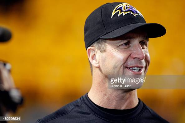 Head coach John Harbaugh of the Baltimore Ravens speaks to the media prior to the AFC Wild Card game against the Pittsburgh Steelers at Heinz Field...
