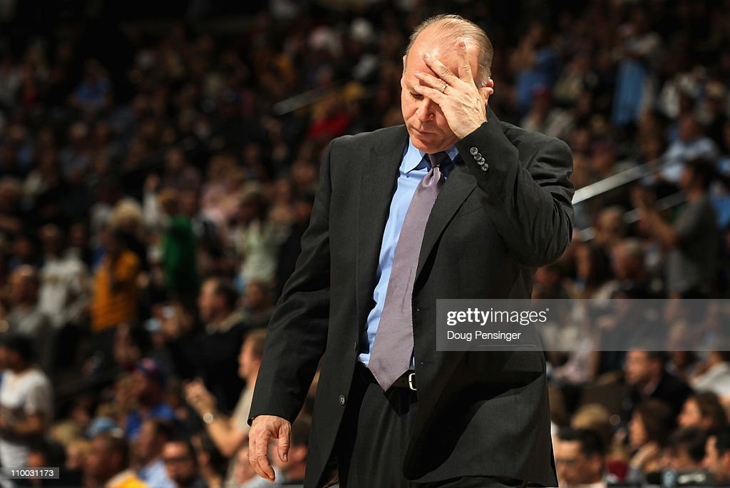 Head coach John Kuester of the Detroit Pistons reacts during a time out against the Denver Nuggets at the Pepsi Center on March 12, 2011 in Denver, Colorado. The Nuggets defeated the Pistons 131-101.