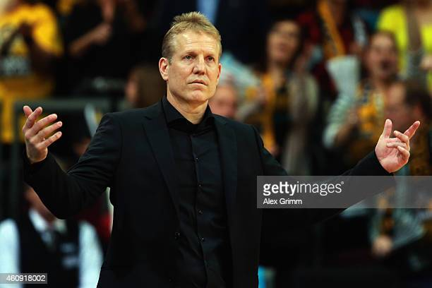 Head coach John Patrick of Ludwigsburg reacts during the Beko BBL basketball match between MHP Riesen Ludwigsburg and Fraport Skyliners at MHP Arena...