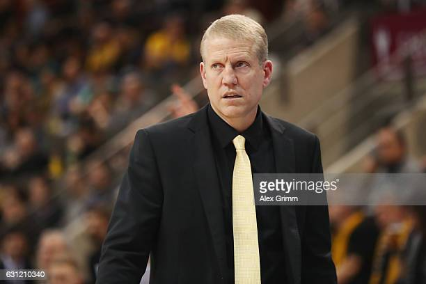 Head coach John Patrick of Ludwigsburg reacts during the easyCredit BBL match between MHP Riesen Ludwigsburg and FC Bayern Muenchen at MHP Arena on...