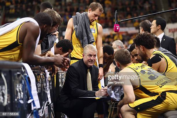 Head coach John Patrick of Ludwigsburg talks to the players during a timeout during the easyCredit BBL match between MHP Riesen Ludwigsburg and FC...
