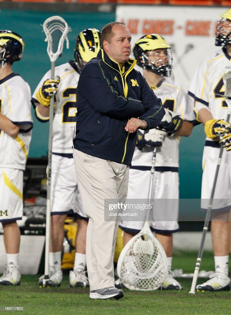 Head Coach John Paul of the Michigan Wolverines looks on during action against the Army Black Knights during the 2013 Orange Bowl Lacrosse Classic on March 2, 2013 at SunLife Stadium in Miami Gardens, Florida. Army defeated Michigan 12-1.
